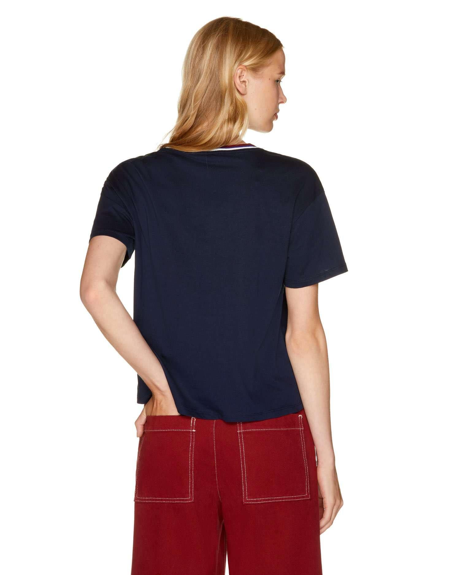 Slogan Şeritli T-Shirt