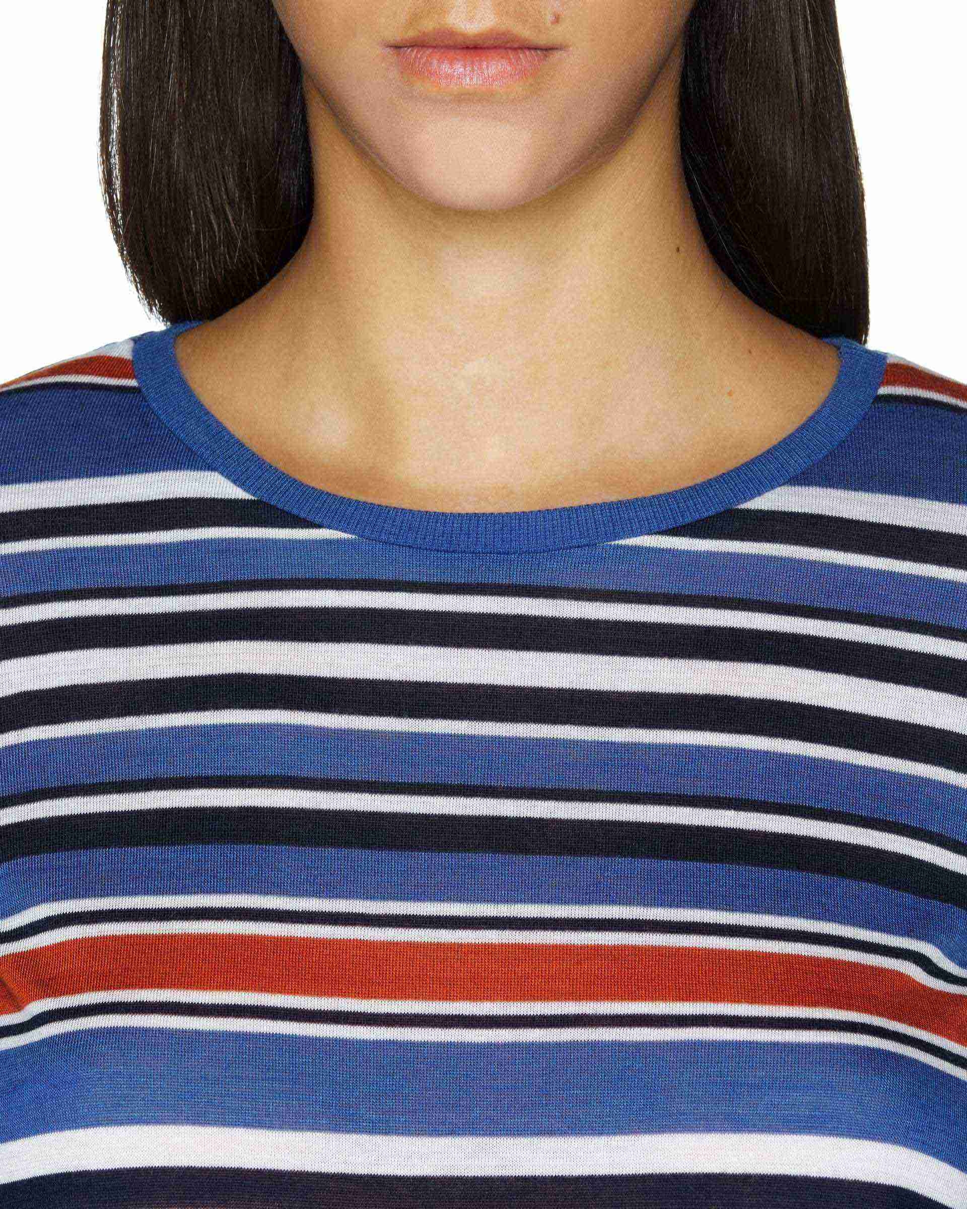 Kol Ağzı Fırfırlı Çizgili Bluz