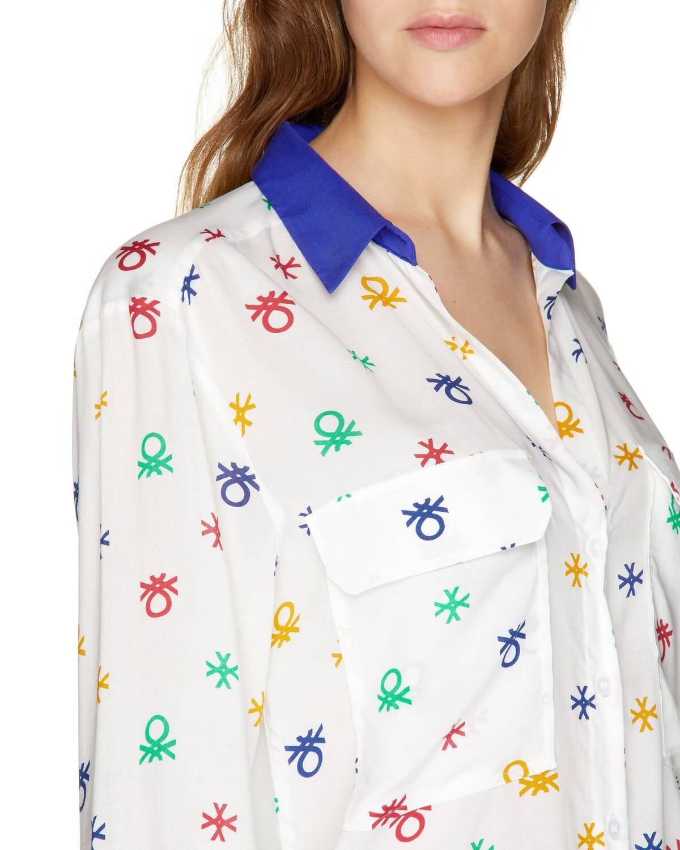Allover Logo Baskılı Gömlek