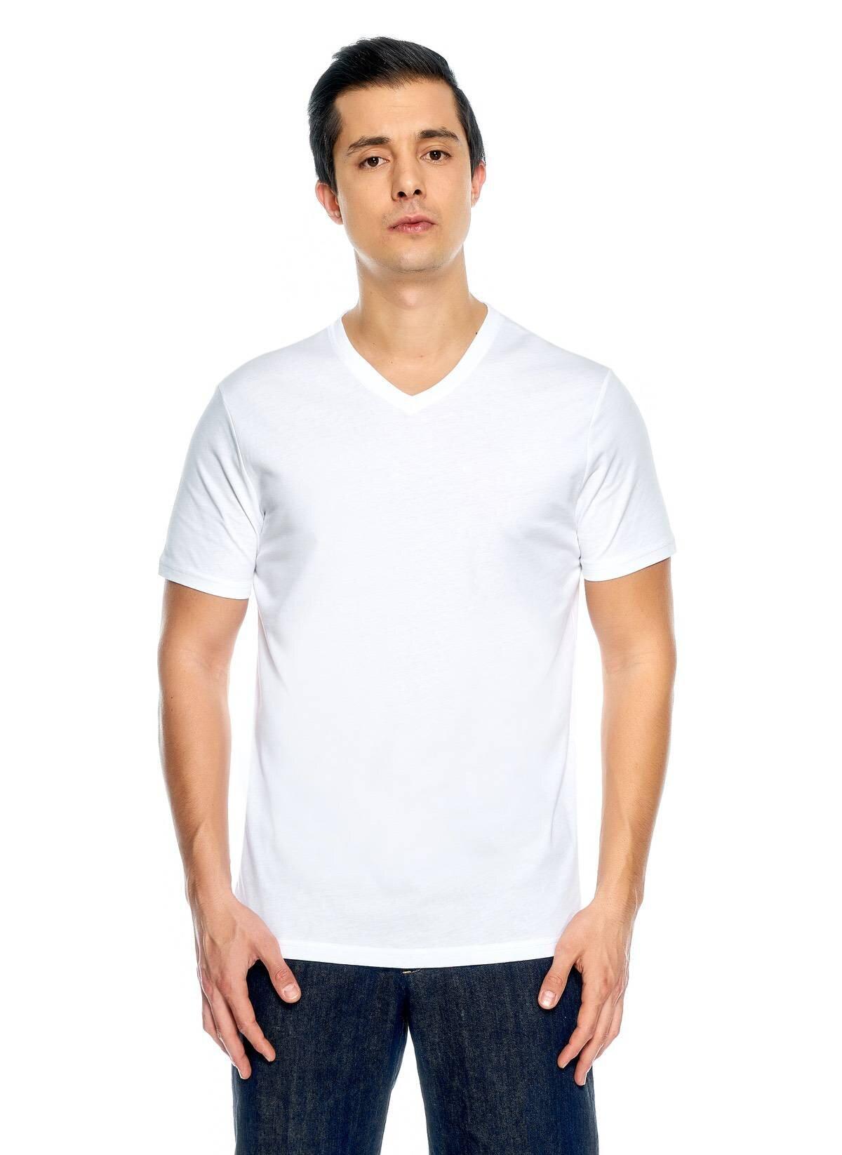 Basic V Yaka Koton Tshirt