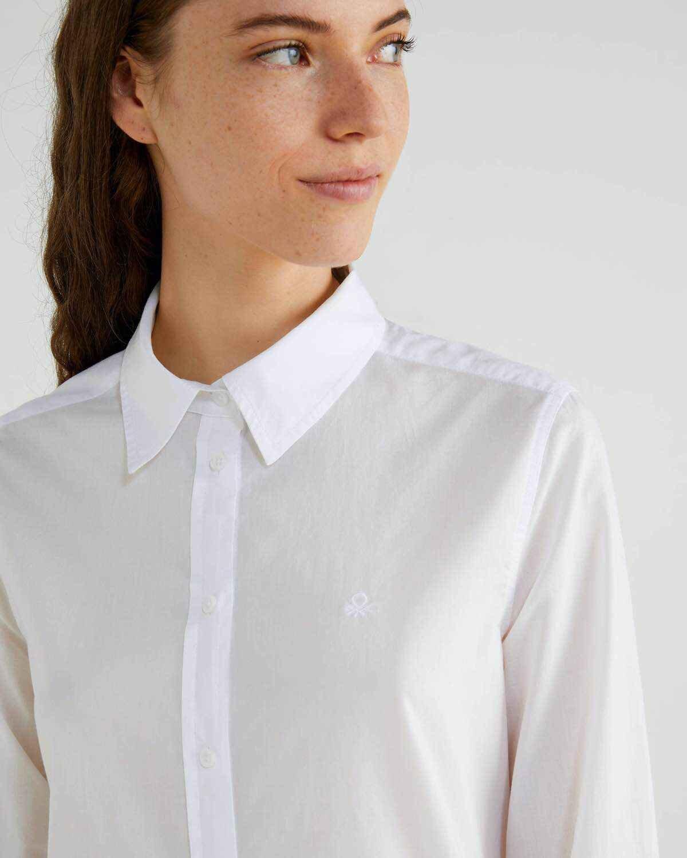 Düz Renk Logolu Koton Gömlek