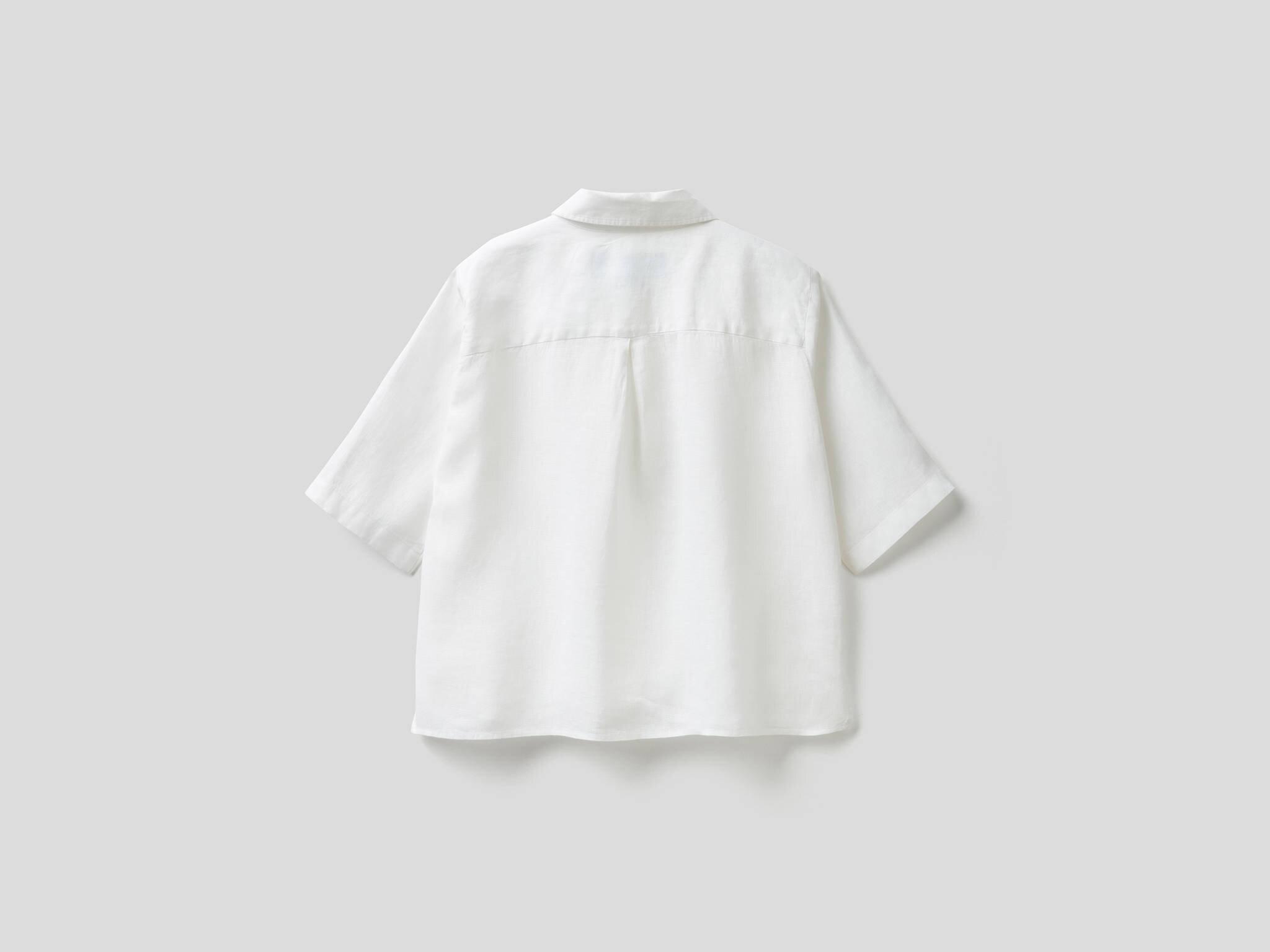 Yarım Kollu Keten Gömlek