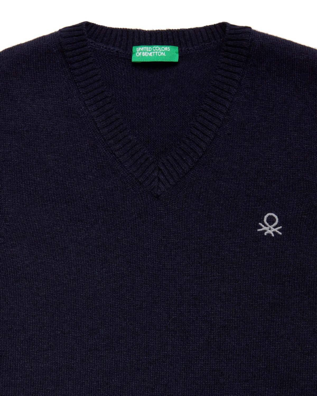 Benetton Logo V Yaka Süveter