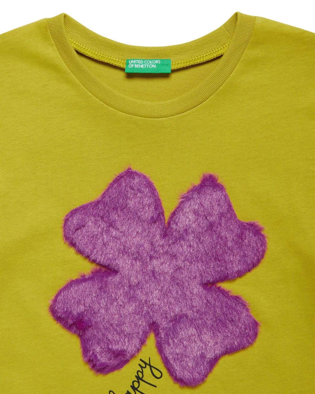 Suni Kürk Aplike Detaylı Tshirt