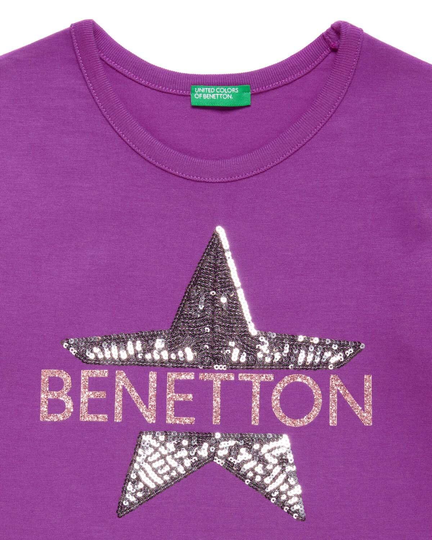 Benetton Yazılı Yıldız Payetli Ts