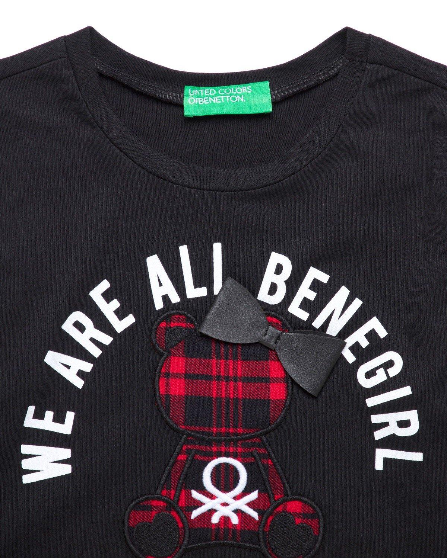 Ekose Ayıcık İşlemeli Tshirt
