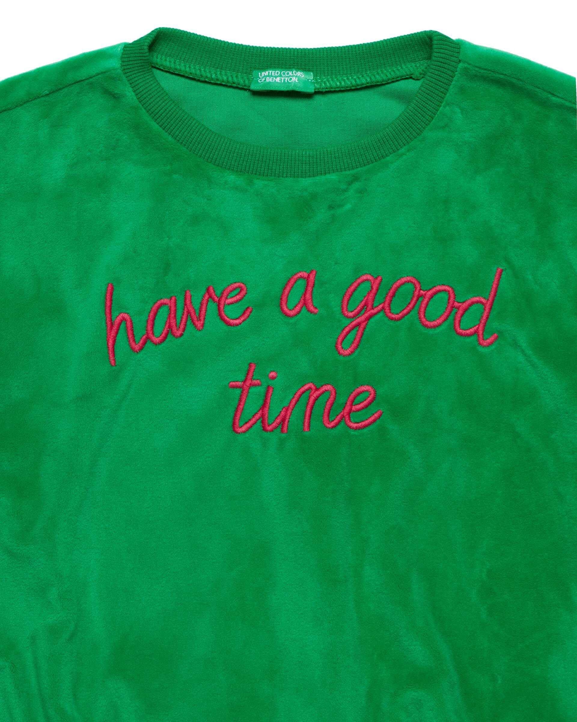 Glitter Şerit Yakalı Sloganlı Swe