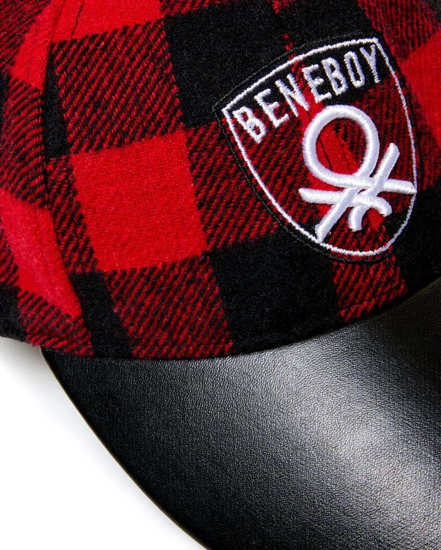 Benetton Logo İşlemeli Ekose Kep