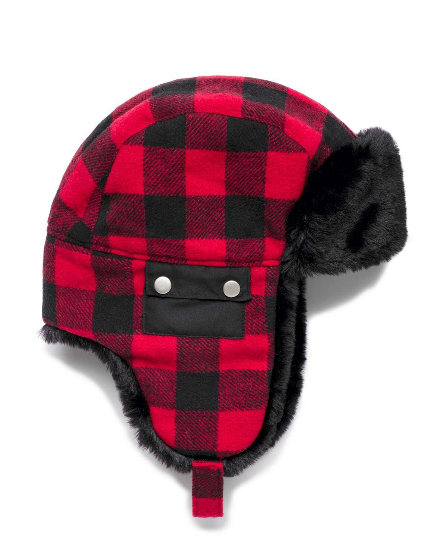 Kürklü Ekose Pilot Şapka