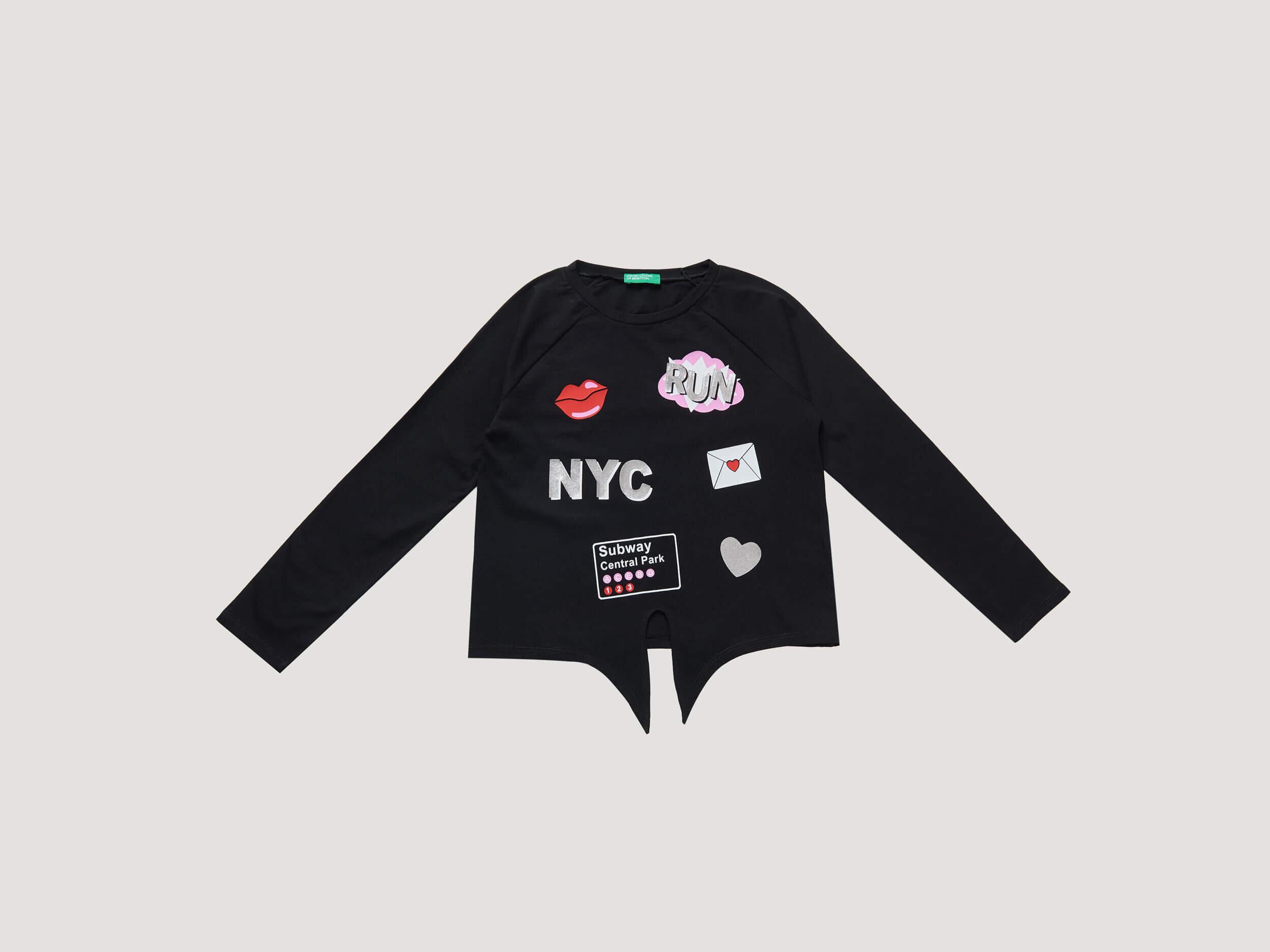 NYC Baskılı Lame Detaylı Tshirt