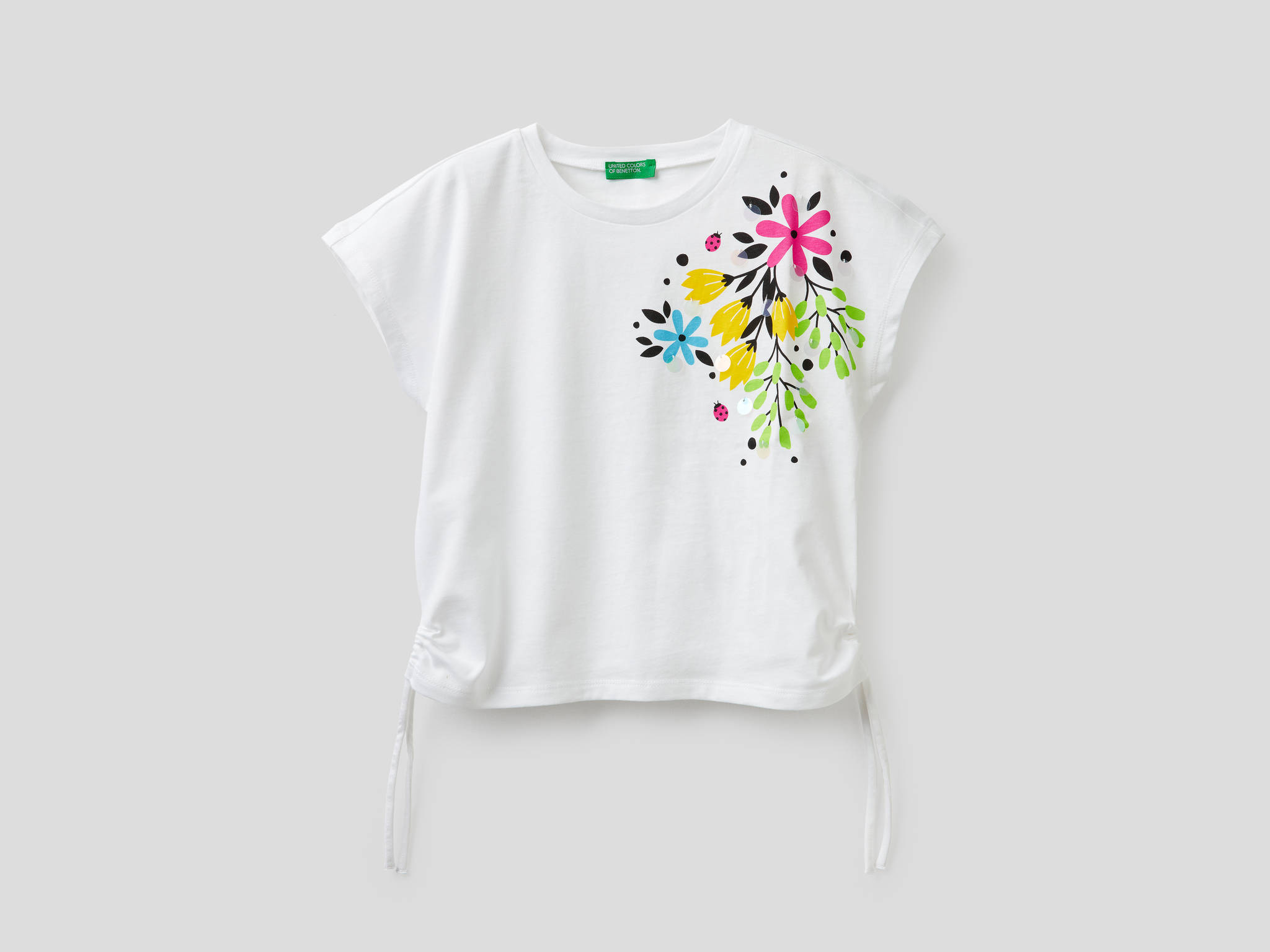 Çiçek Baskılı Payetli Tshirt