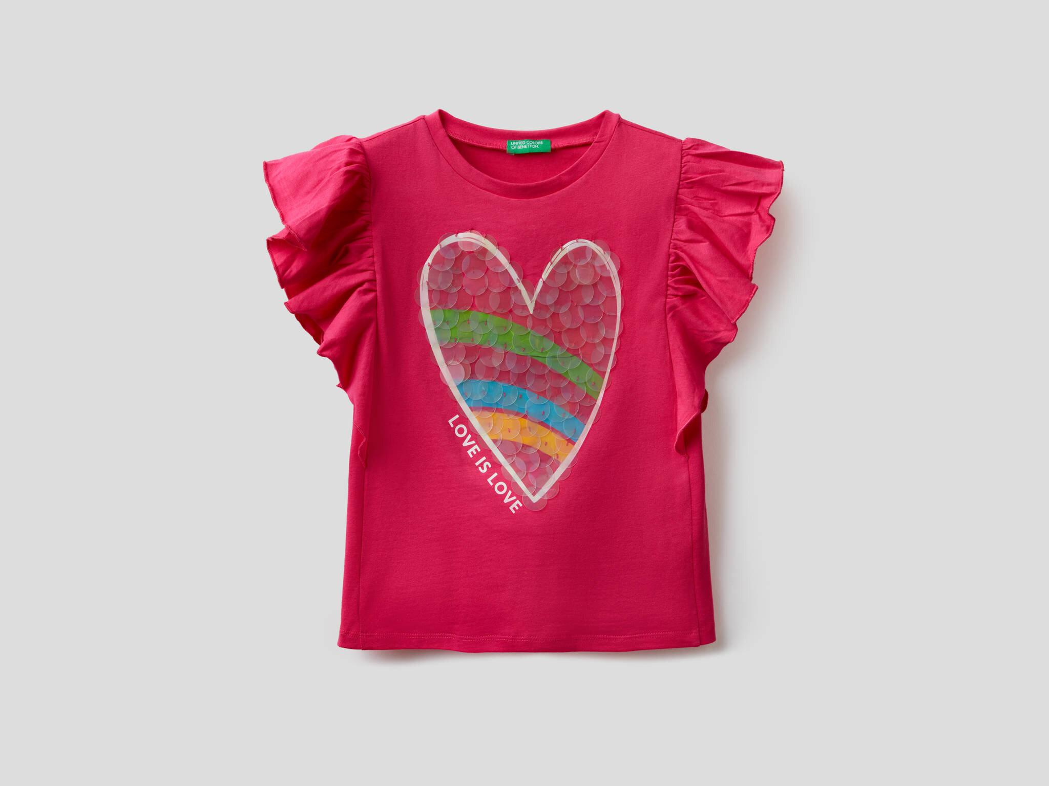 Kalp Baskılı Payetli Tshirt