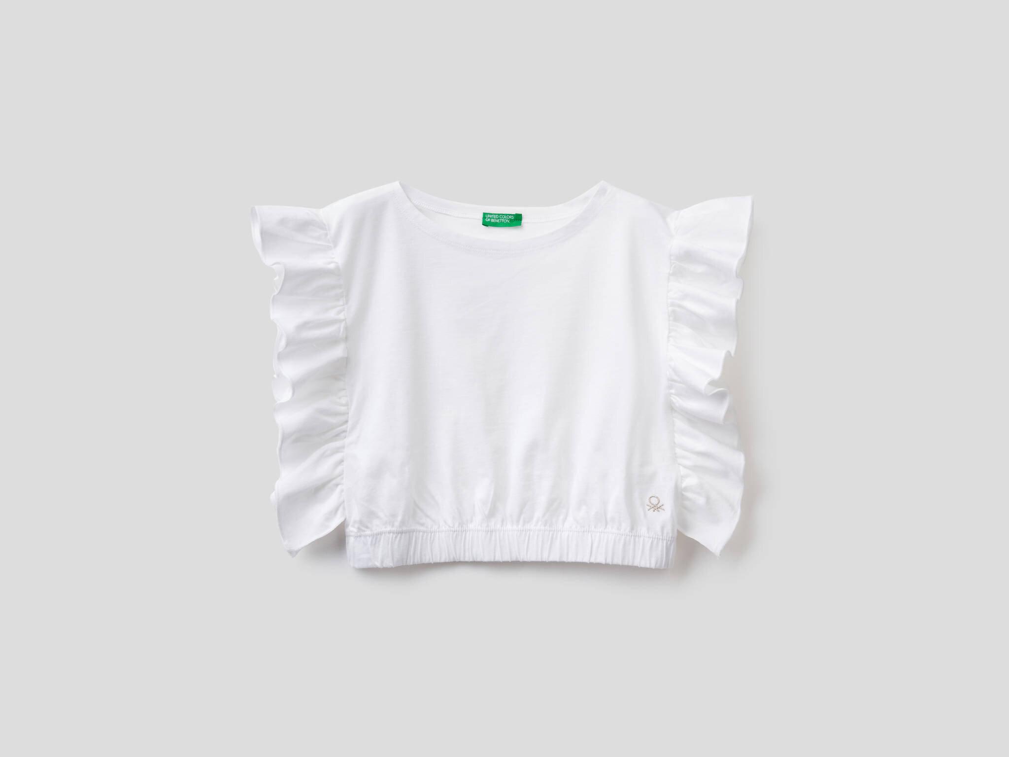 Kolları Volanlı Crop Tshirt