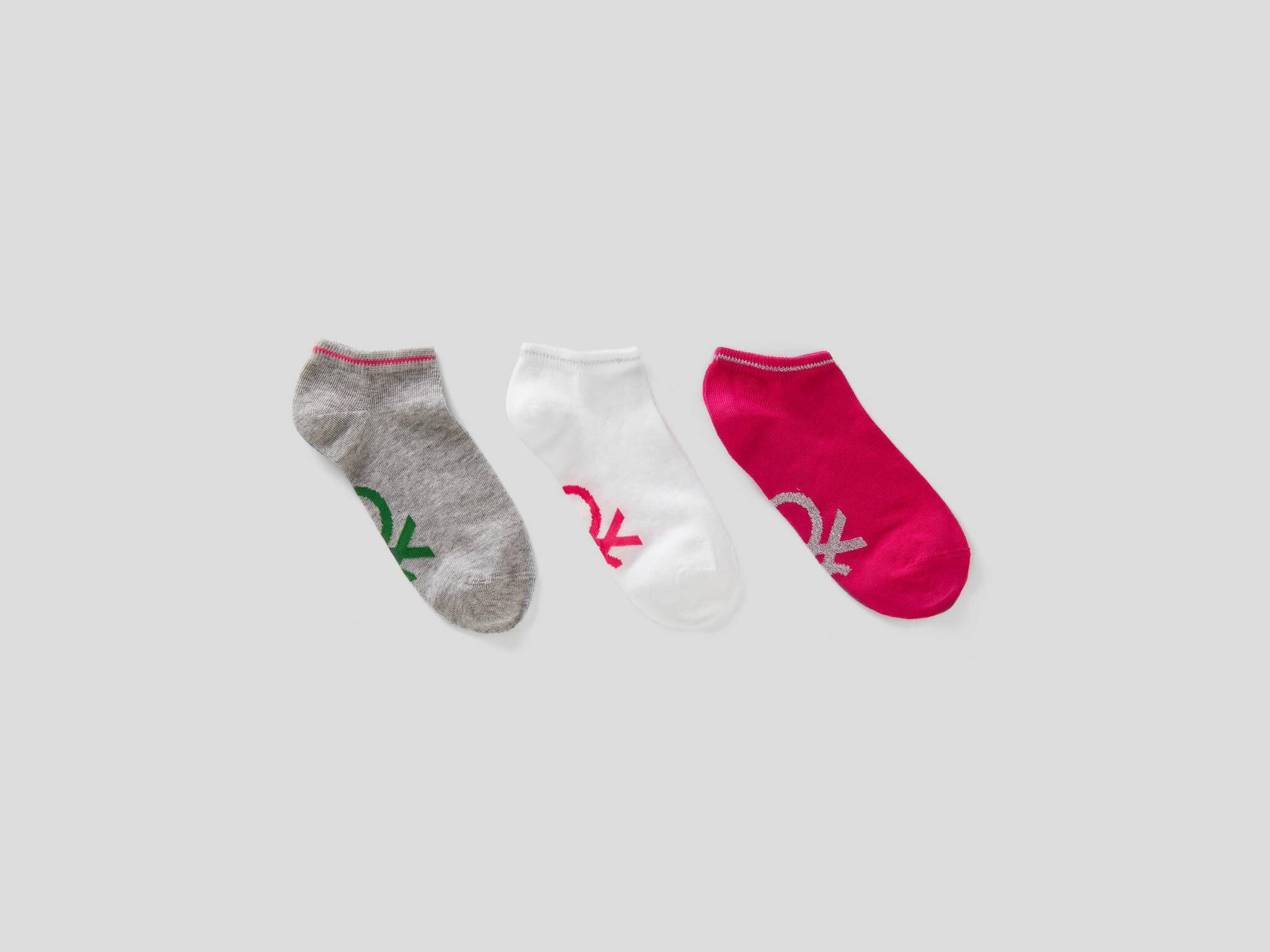 3lü Logolu Düz Patik Çorap