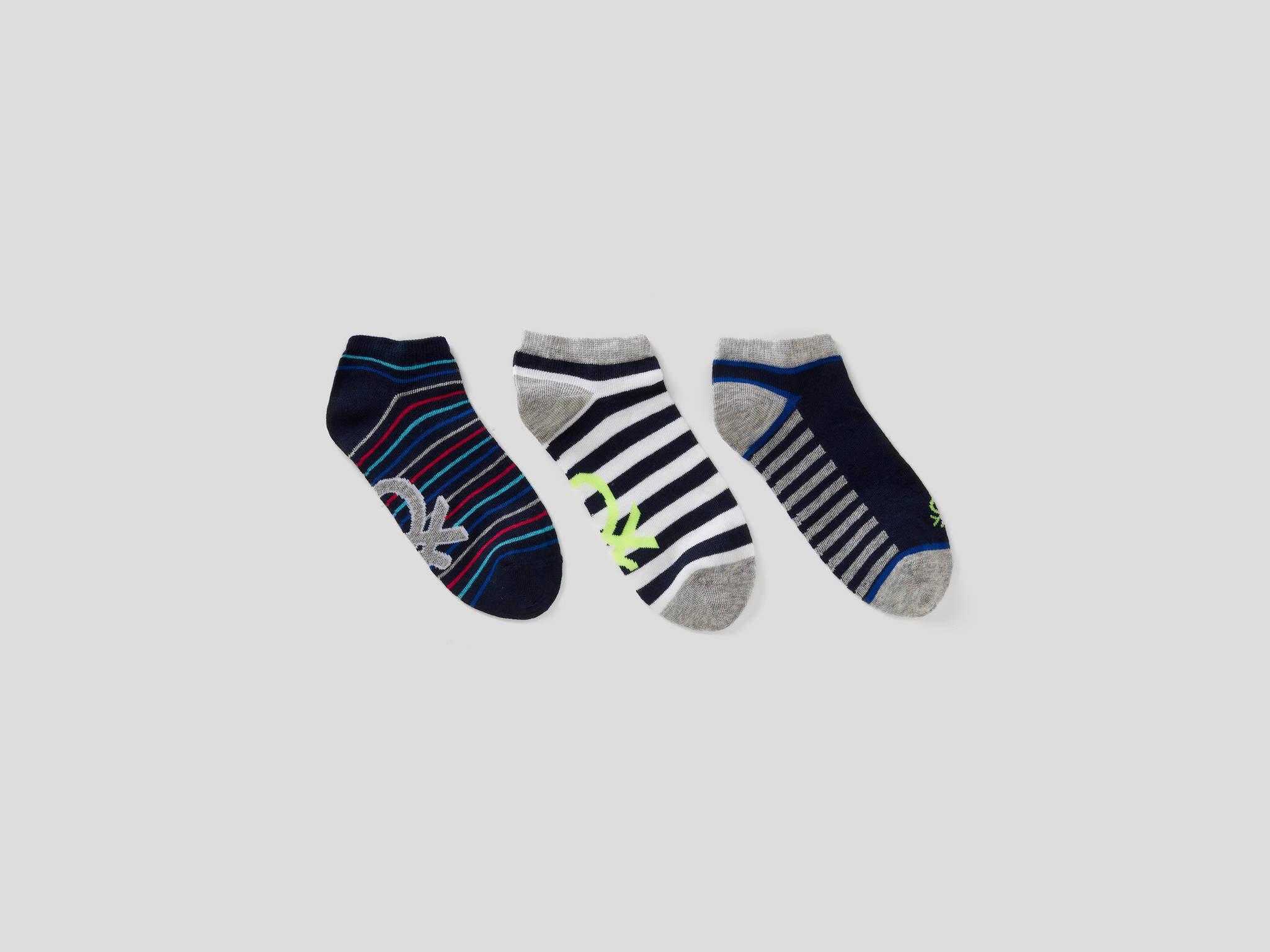 3lü Desenli Patik Çorap
