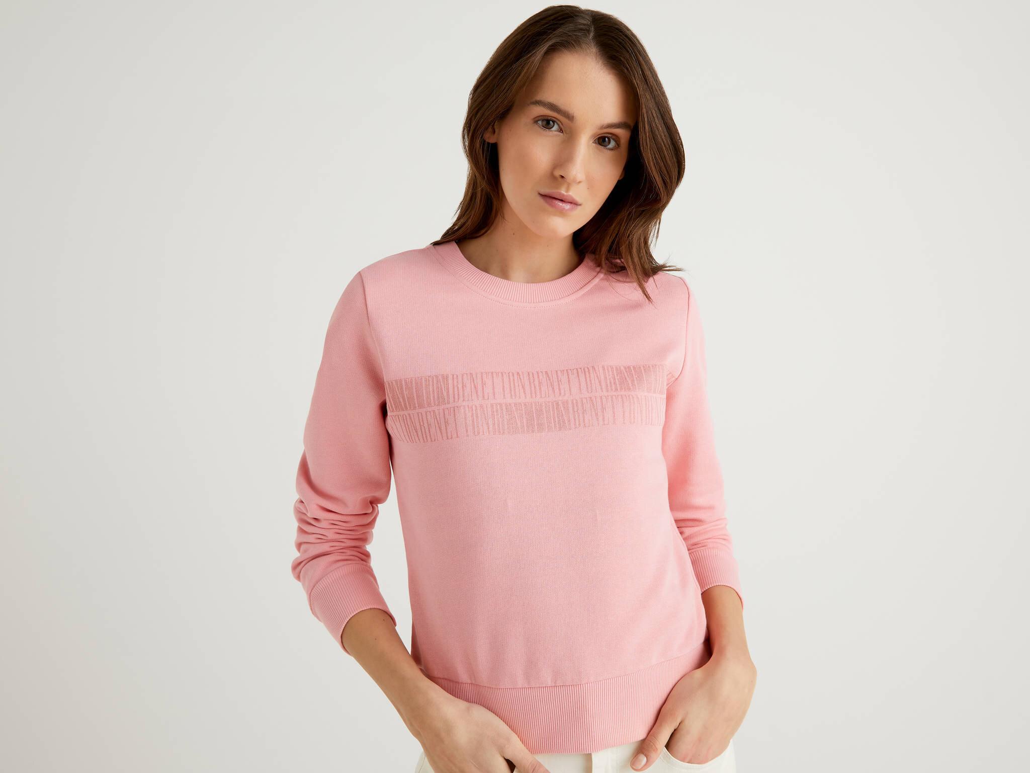 Benetton Yazılı Crop Sweatshirt