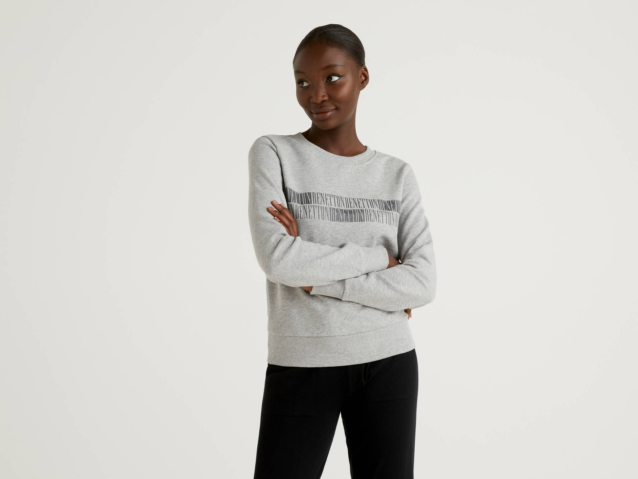Benetton Yazılı Crop Sweatshirt