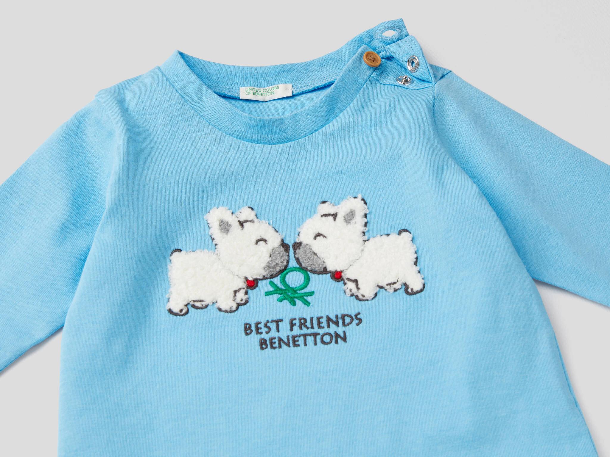 3D Köpek İşlemeli Tshirt