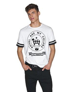 Kol Ucu Çizgili Baskılı Tshirt