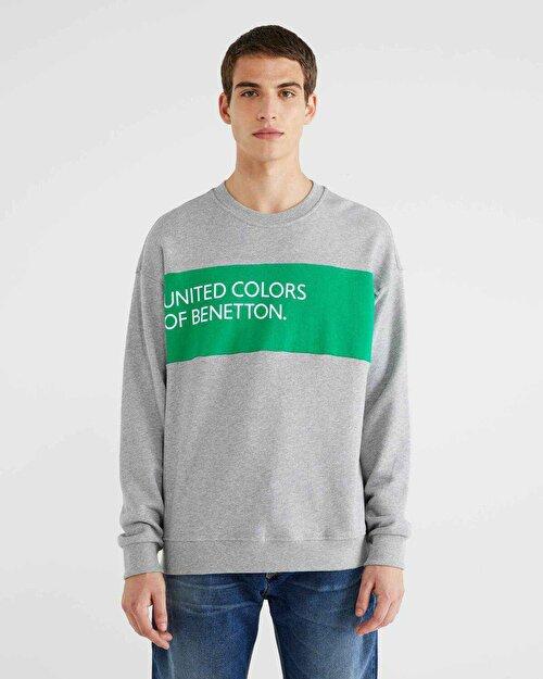Şerit Logo Baskılı Sweatshirt