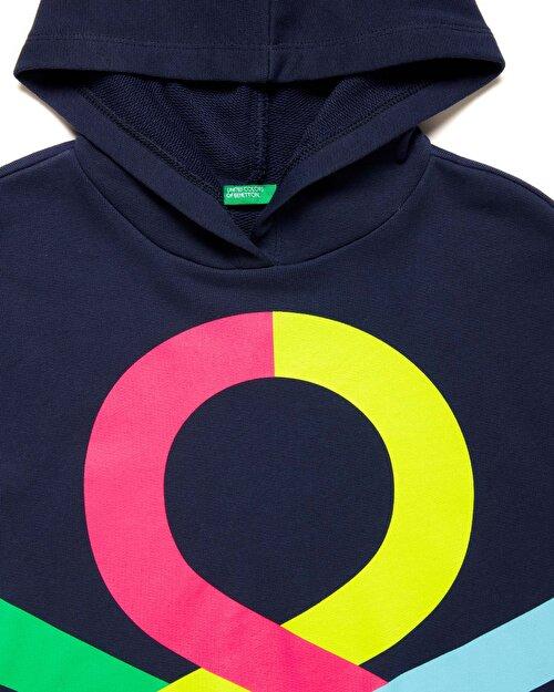 Benetton Logo Desenli Sweatshirt