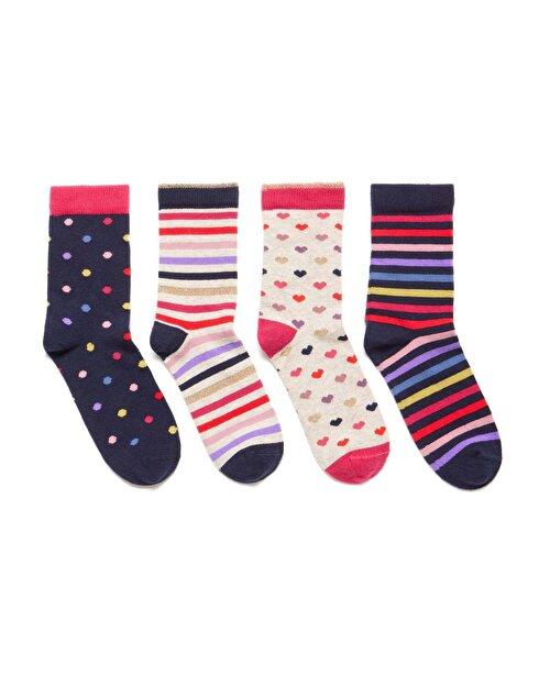 Desenli 4'lü Soket Çorap