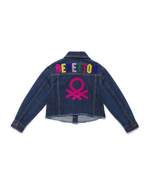 Arkası Logolu Kot Ceket