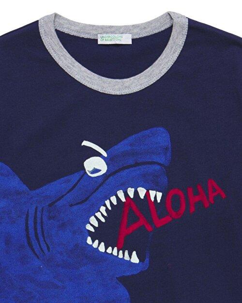 Köpekbalığı Baskılı Pijama Takım