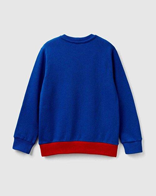 Yazılı Renk Bloklu Sweatshirt