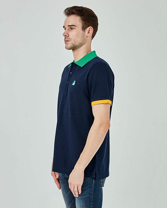 Kontrast Biyeli Polo Tshirt