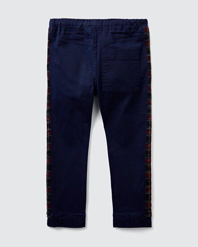 Yanı Ekose Şeritli Kanvas Pantolon