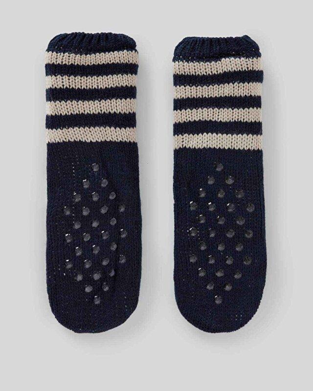 Geyik Desenli İçi Peluş Ev Çorabı